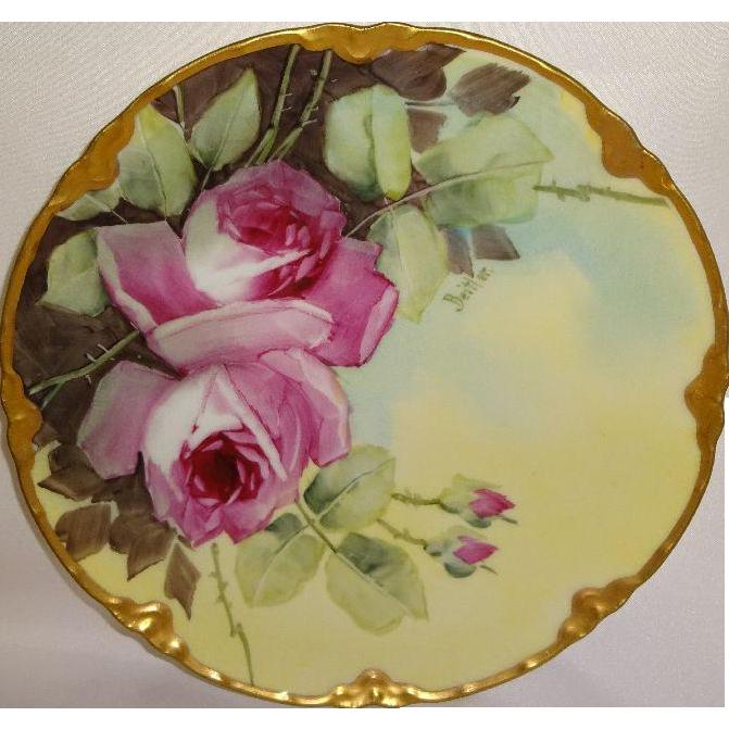 Haviland Limoges Plate Hand Painted Pink Roses Artist Signed Beitler