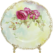 Antique French Limoges Plate Hand Painted Crimson Tea Roses