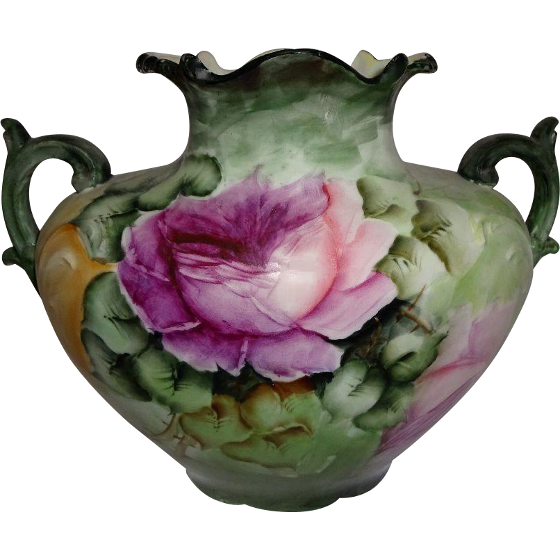 French Limoges Pillow Vase with Hand Painted Pink Tea Roses