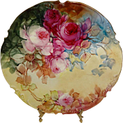 Antique French JPL Limoges France Hand Painted Plate Red Roses