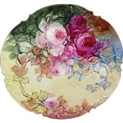 Limoges France Plate Hand Painted Pink Roses