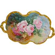 Limoges France Hand Painted Tray Pink Tea Roses Dual Gold Handles