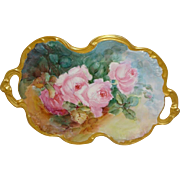 JPL Limoges, France Tray Hand Painted Pink Tea Roses