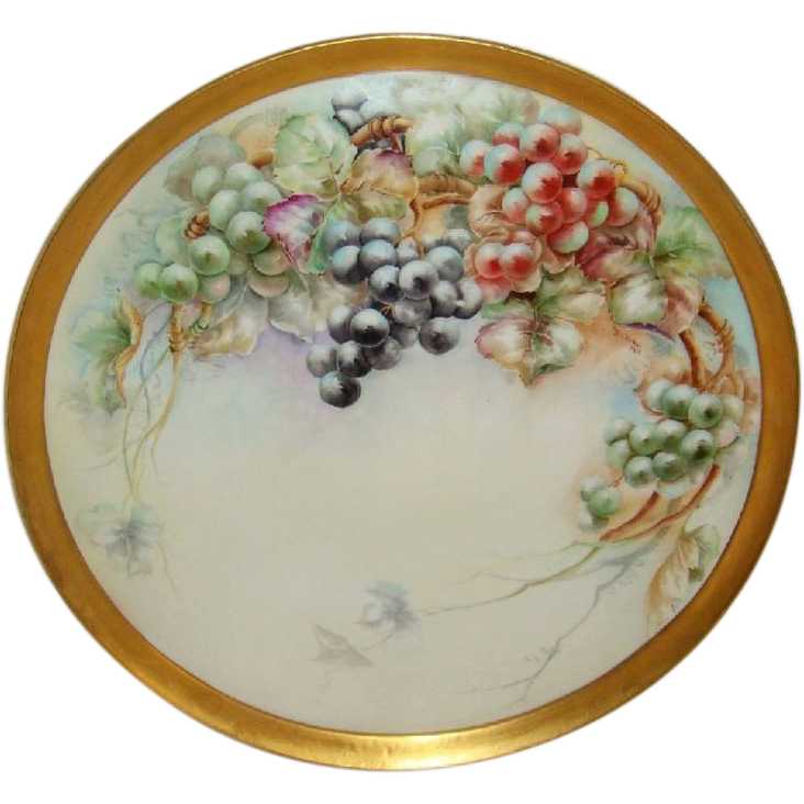 "Antique French Limoges 18"" TRAY Hand Painted Signed Dated 1908"