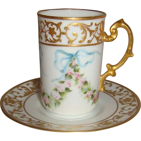 French Limoges Cup Saucer Hand Painted Pink Roses Signed
