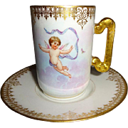 Antique DC Limoges France Cup Saucer with Cherubs Angels
