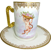 Antique French Limoges Chocolate Cup Saucer Cherubs