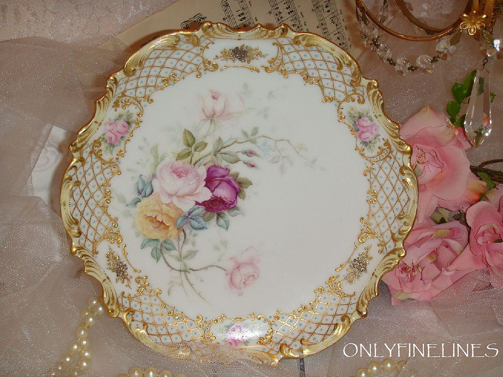 Gorgeous Plate with Hand Painted Roses