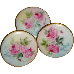 A Trio of Buttons Hand Painted - Signed by Helen Humes - Romantic Roses - Blue Forget-Me-Not Blossoms - Only Fine Lines