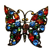 Sparkling Rhinestone Butterfly Pin 2 1/4""