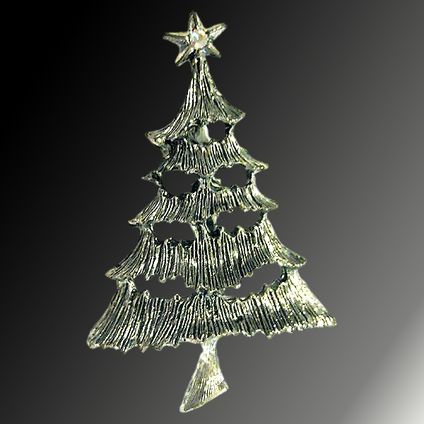Textured Silver Tone Christmas Tree Pin