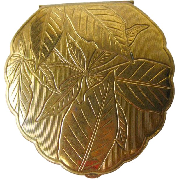 American Beauty Compact Gold Tone Leaf Scalloped / Bridesmaid Gift / Vanity Item / Purse Accessory