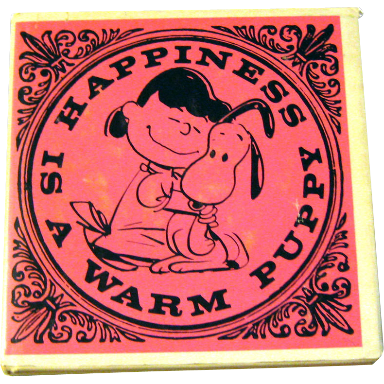 Vintage Book Happiness Is A Warm Puppy Peanuts Cartoon