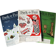 1960s Pack O Fun Vintage Childrens Magazine Trio / Scrapbook / Vintage Magazine / Kids Crafts / Patterns / Home Decor / Holiday Crafts