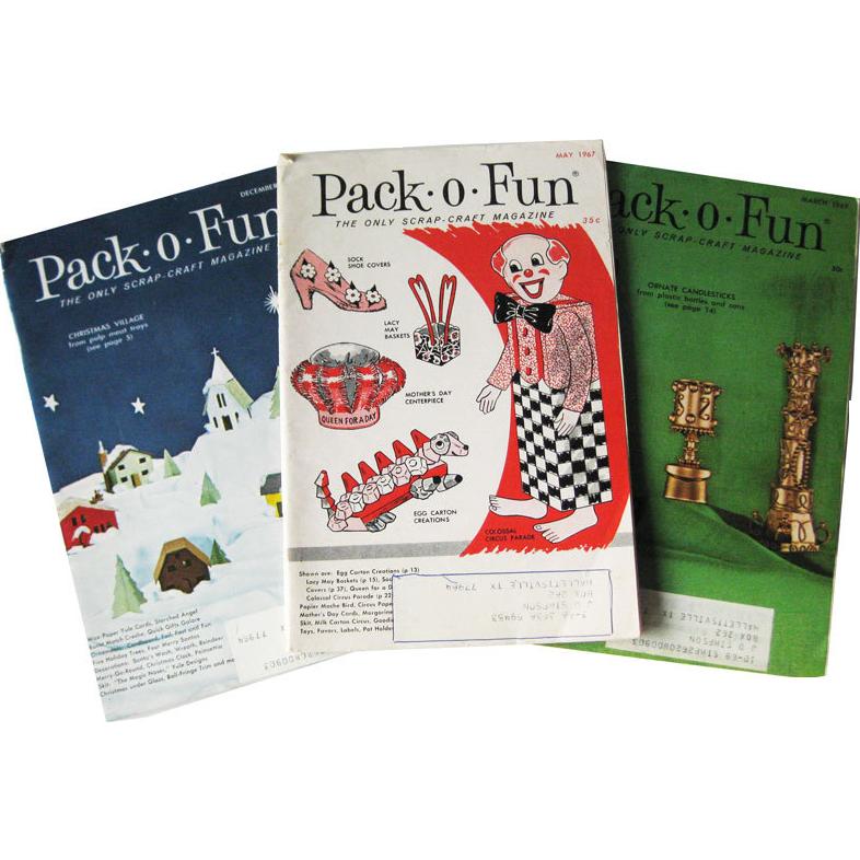 1960s Pack O Fun Vintage Childrens Magazine Trio / Scrapbook / Vintage Magazine / Kids Crafts / Patterns / Home Decor / Holiday Crafts