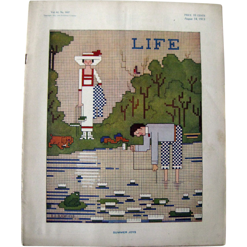 Vintage Life Magazine A D Blashfield Cover August 1913 / Turn of The Century Magazine / Vintage Advertising