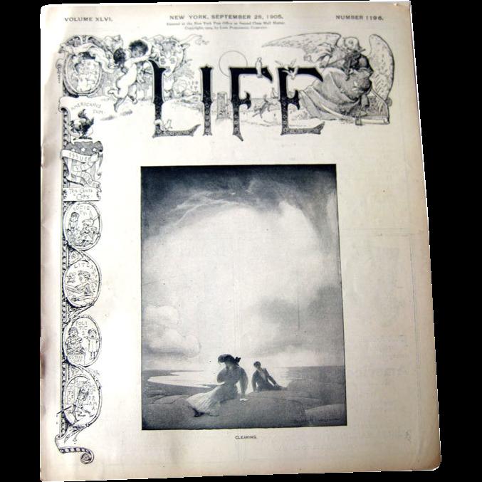 Vintage Life Magazine George W Eggers Cover September 28 1905 / Vintage Advertising / Automotive / William Taft