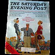 Saturday Evening Post Vintage Magazine October 1976 Norman Rockwell Cover / Football / Joe Nameth / Vintage Advertising
