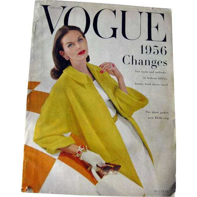 Vintage Vogue Fashion Magazine January 1956 / Fashion Photography / Vintage Advertising