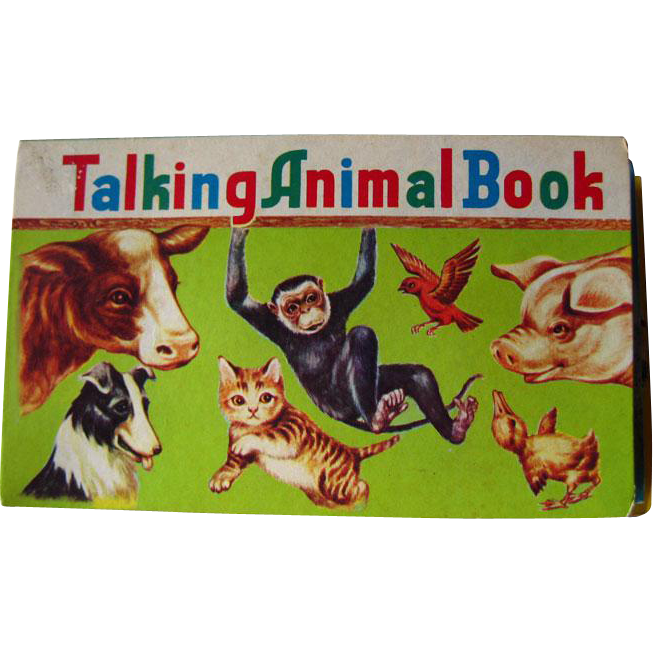 Talking Animal Book Vintage Noisemaker Book / Color Illustration / Childrens Book / Animal Noises