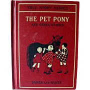 The Pet Pony and Other Stories Primer Vintage Reader / True Stories Series / Illustrated Book / Learning To Read / 1920s Vintage Book