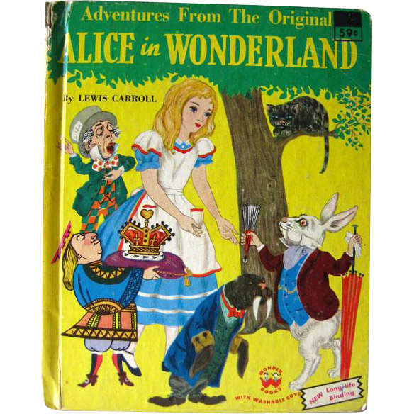 Alice in Wonderland Wonder Book 1970s Vintage Book / Illustrated Childrens Book / Gift Book / Bedtime Book / Lewis Carroll