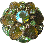 Molded Green Rhinestone Pin / Vintage Jewelry / Vintage Brooch