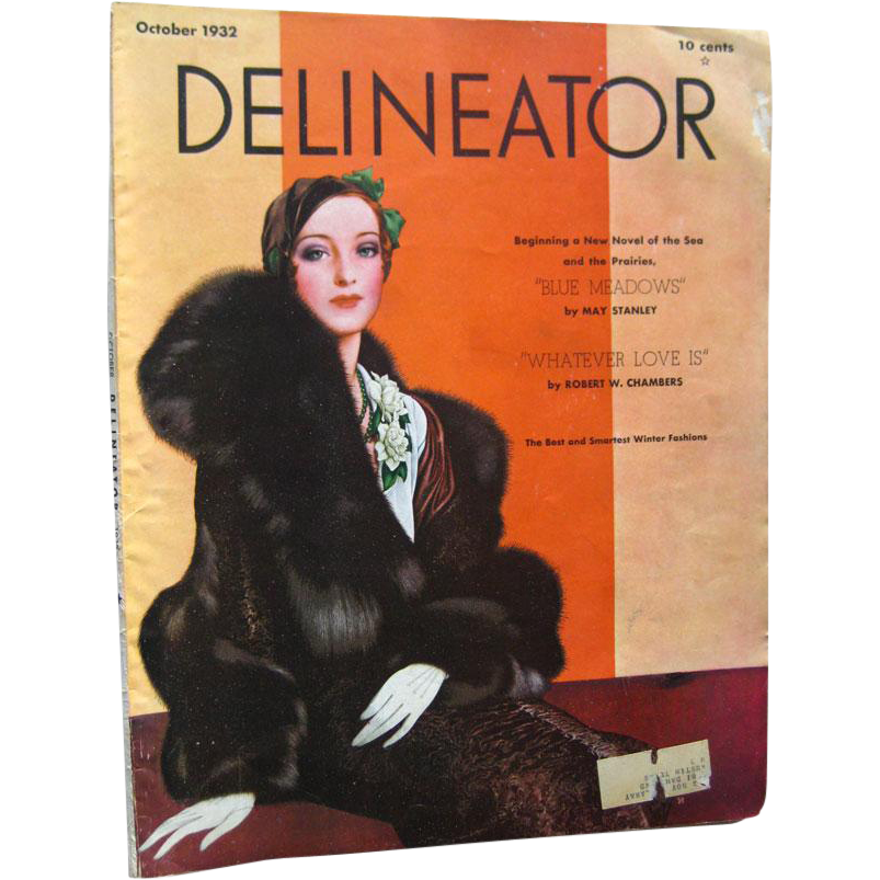 Delineator Vintage Fashion Magazine October 1932 / Robert Chambers Fiction / Vintage Advertising