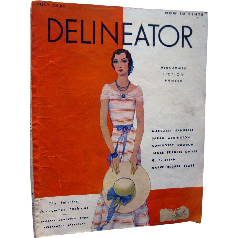 Delineator Vintage Fashion Magazine July 1931 / Midsummer Fiction / Vintage Advertising