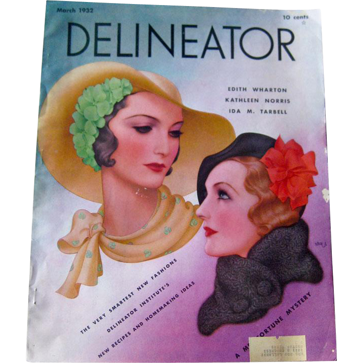 Delineator Vintage Fashion Magazine March 1932 / Edith Wharton Fiction / Vintage Advertising