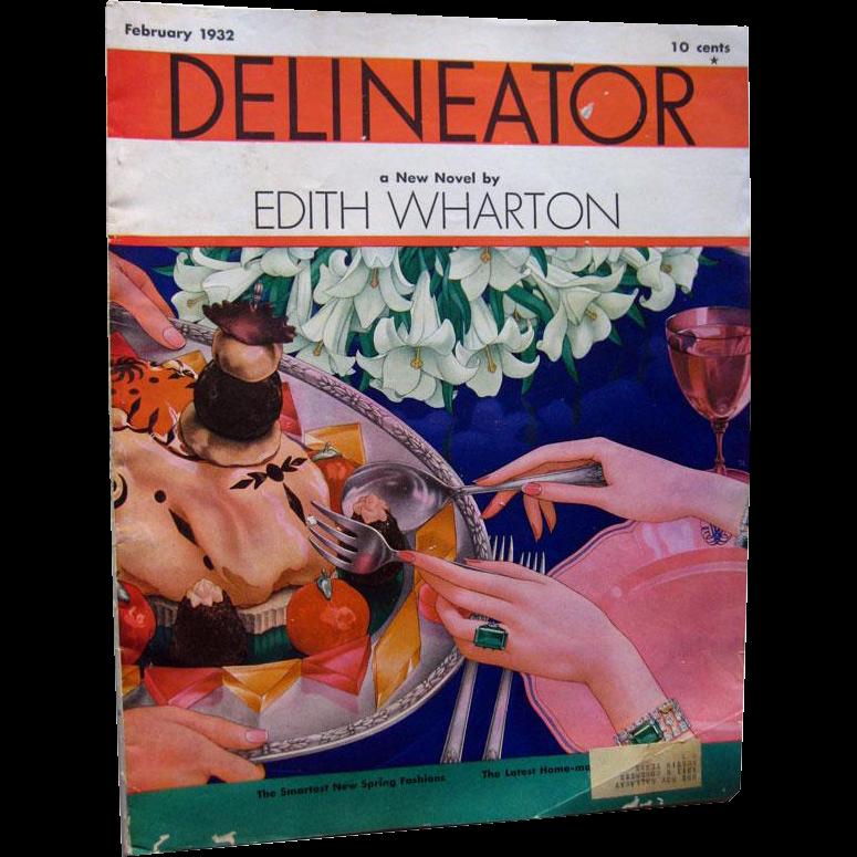Delineator Vintage Fashion Magazine February 1932 / Edith Wharton Fiction / Vintage Advertising