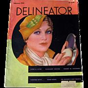 Fashion Magazine Delineator February 1933 / Butterick Pattern Company Magazine / Vintage Advertising