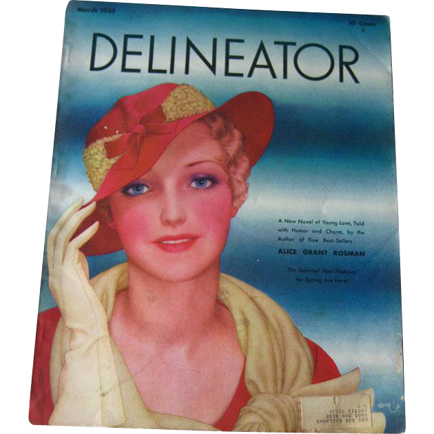 Delineator Vintage Fashion Magazine March 1933 / Butterick Pattern / Vintage Advertising