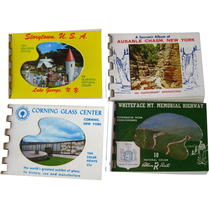 Souvenir Post Card Books Story Town USA Ausable Chasm NY Corning Glass Center Whiteface MT Memorial Highway / Scrapbooking /Vintage Ephemera