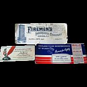 Advertising Blotters / John Hancock / Firemens Insurance / Vintage Desk /Vintage Ephemera / Scrapbooking / Vintage Advertising