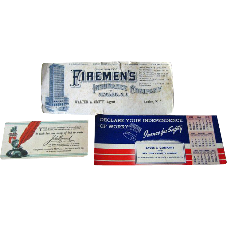 Advertising Blotters / John Hancock / Firemens Insurance / Vintage Desk /Vintage Ephemera / Scrapbooking / Vintage Advertising