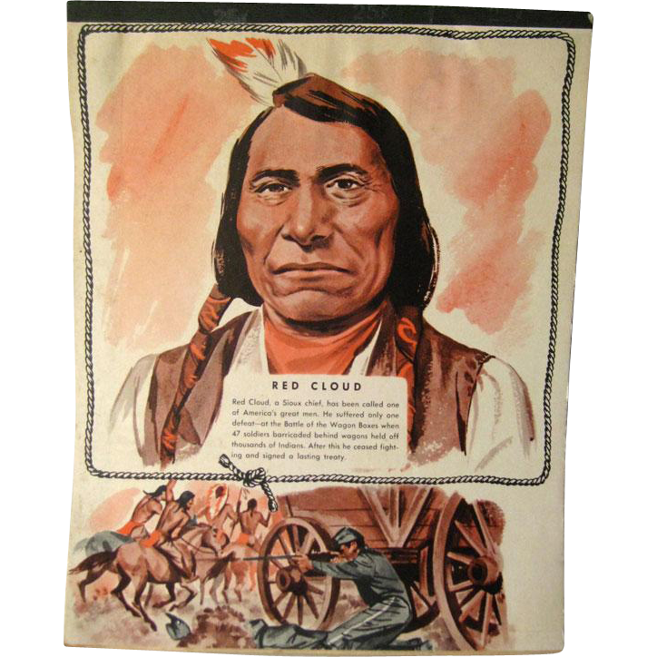 Red Cloud Western Themed Writing Tablet - Vintage Stationary - Writing Pad - Old West - Native American - Sioux Chief