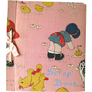 Vintage Scrapbook WIth Illustration Cloth Cover - Childrens Scrap Book - Vintage Photo Album