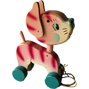 Cat Pull Toy With Noddy Head - Vintage Toy - Childrens Toy