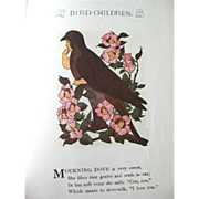 Bird Children Vintage Illustrated Childrens Book - M P Ross Illustrations - Elizabeth Gordon - Wise Book Edition 1939