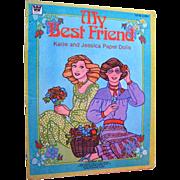 My Best Friend Katie and Jessica Paper Dolls Uncut by Whitman 1980s - Vintage Paper Dolls