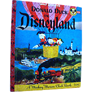 Donald Duck In Disneyland B Edition - Vintage Walt Disney Little Golden Book  -  Color Illustrations - Gift Book - Disney Productions