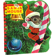 Santa Mouse Sturdi Contour Book Number 5530 - Out of Print Childrens Book - Rare Christmas Book - Santa Claus
