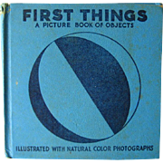 First Things Picture Book of Objects - Vintage Illustrated Book - Early Childhood Book - Kids Books - Tinted Photographs