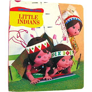 Tadasu Izawa Puppet Storybook - LITTLE INDIANS - Vintage Board Book - Childs Book - Kids Gift Books