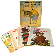 RARE Childrens Book Set - Topsy Turvy Stories By Ruth Plumly Thompson Illustrated by Charles Coll - Four Book Boxed Set - Collectible Books