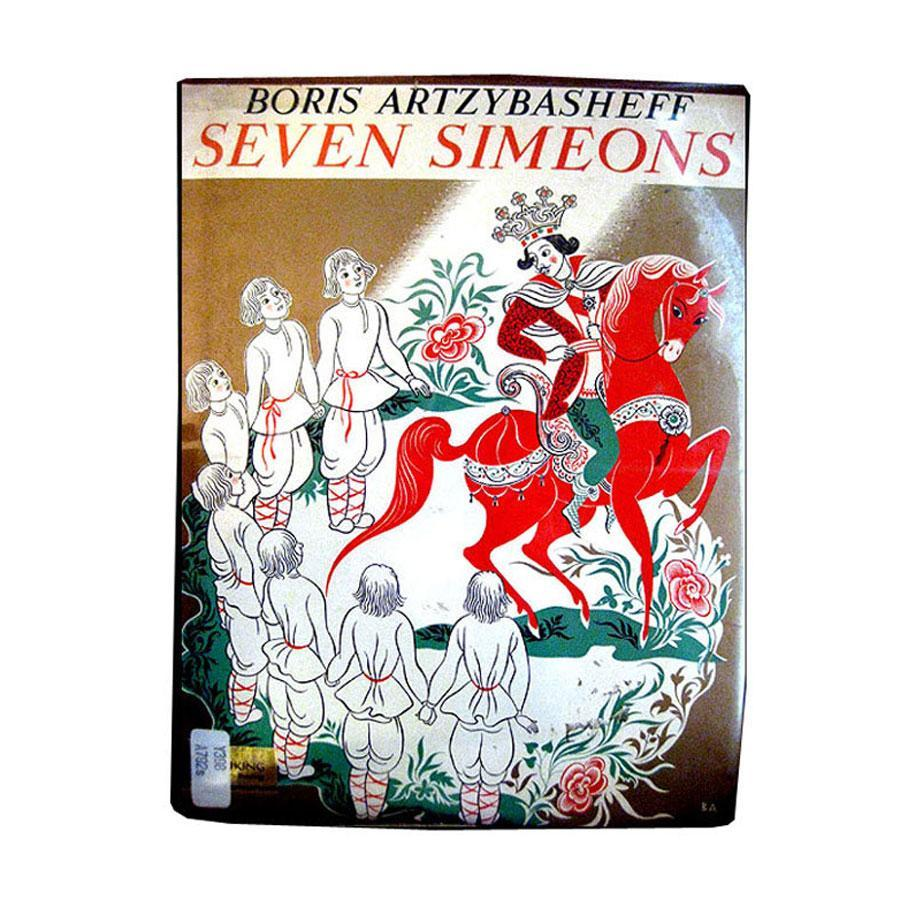 Seven Simeons -- Vintage Childrens Illustrated Russian Folk Tale Book