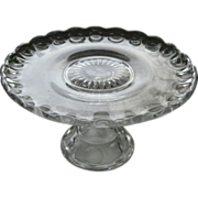 Vintage Pressed Glass Cake Stand / Vintage Kitchenware / Vintage Serving / Cake Plate / Serving Plate