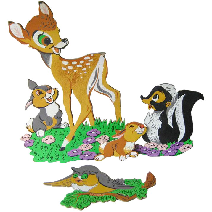 Vintage Bambi and Friends Nursery Wall Hanging / Baby Decor / Nursery Decor / Walt Disney