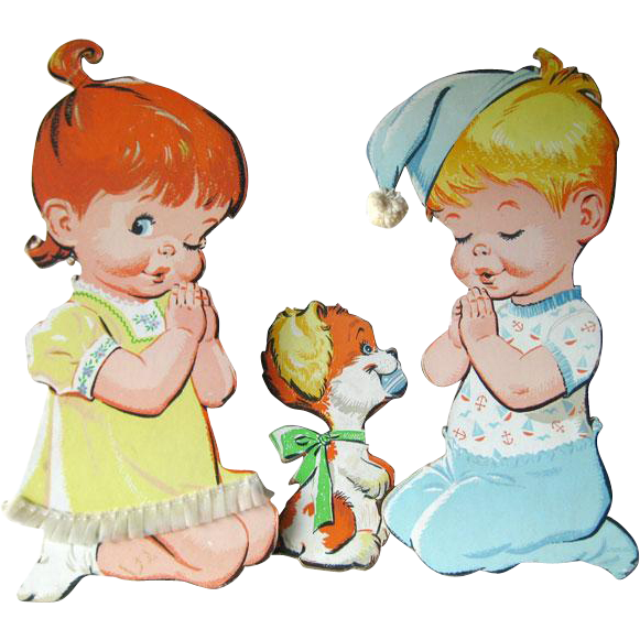 Vintage Praying Children and Dog Nursery Wall Hanging / Baby Decor / Nursery Decor